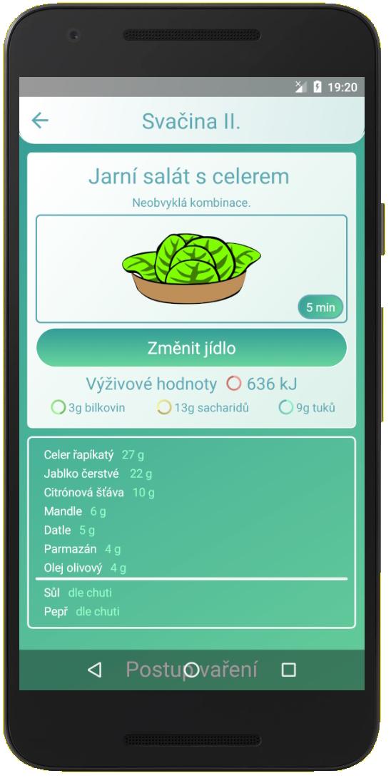 mobilní aplikace na recepty - detail