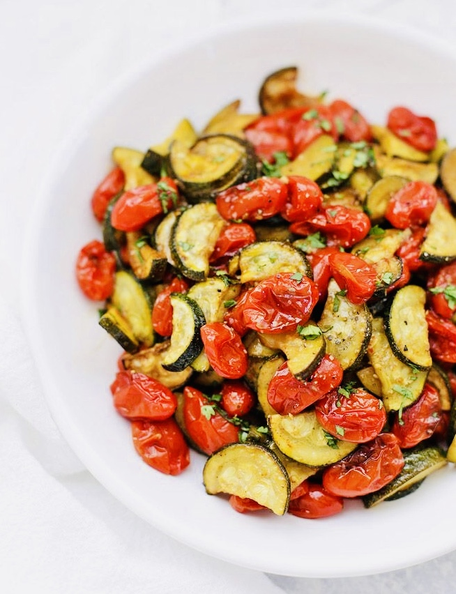 cooked zucchini with tomatoes